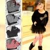 ถุงเท้าแฟชั่นเด็ก ตกแต่วด้วยโบว์ เก๋มากสไตล์เกาหลี (สีดำ)