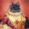 แนวภาพ Potrait แมวในชุดยุโรปโบราณ กระดาษแนพกิ้นสำหรับทำงาน เดคูพาจ Decoupage Paper Napkins เป็นภาพ 4 บล๊อค ขนาด 33X33cm สำเนา