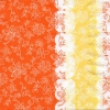 แนวภาพลายแต่ง ลายเส้นดอกไม้ บนพื้นสีส้ม ตัดขอบด้วยสีขาวสีเหลือง ภาพโทนสีส้มเหลือง เป็นภาพแนวตั้ง กระดาษแนพกิ้นสำหรับทำงาน เดคูพาจ Decoupage Paper Napkins ขนาด 33X33cm
