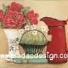กระดาษสาพิมพ์ลาย สำหรับทำงาน เดคูพาจ Decoupage แนวภาำพ ตระกร้าดอกไม้ขาว เหยือกสีแดงทรงสูง และกุหลาบแดงปักในแจกันวินเทจ สวยหวานมากๆ เป็นภาพ สไตล์วินเทจ vintage (ปลาดาวดีไซน์)