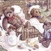 กระดาษสาพิมพ์ลาย rice paper เป็น กระดาษสา สำหรับทำงาน เดคูพาจ Decoupage แนวภาพ ครอบครัวน้องหมี เท็ดดี้ แบร์ teddy bear มากินน้ำชายามบ่ายนอกบ้านบนเก้าอี้หวาย (pladao design)