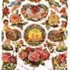 กระดาษตัดสำเร็จ ลายนูน ภาพเดี๋ยว แบบมีกากเพชร แนววินเทจ ช่อดอกไม้หลากหลายชนิด นางฟ้า เด็กถือช่อดอกไม้ เด็กทารก
