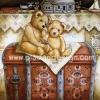 กระดาษสาพิมพ์ลาย สำหรับทำงาน เดคูพาจ Decoupage Rice Paper แนวภาพ Teddy bear หมี เท็ดดี้ แบร์ นั่งบนกล่องใส่ของ ปลาดาว ดีไซน์