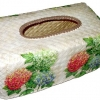 กล่องทิชชูใบลานแบบกล่อง ลายดอกไฮเดรนเยีย 3 สี