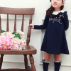 huanshu kids ชุดเดรสแฟชั่นเด็กนำเข้า สีน้ำเงิน มีตกแต่งที่อก น่ารักสไตล์เกาหลี