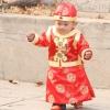 ชุดจีนเด็กชาย 3ชิ้น เสื้อ+เสื้อกั้กสีแดง+หมวก