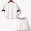ชุดเดรสสีขาวสไตล์กาหลีเกาหลีใหม่ทันสมัยสองชิ้นชุดกระโปรงหญิง-เสื้อ