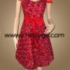ชุดราตรีผ้าไหมสีแดงเลือดนก แบบมีแขน ปักดอกกุหลาบเงาทั่วตัว น่ารักสวยหรูมาก