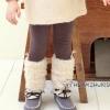 hunazhu kids กางเกงเด็กหญิงผ้าหนา แบบเก๋ สไตล์เกาหลี สีน้ำตาล แต่งลายขนฟูนิ่มๆสีขาวและโบว์