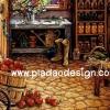 กระดาษอาร์ทพิมพ์ลาย สำหรับทำงาน เดคูพาจ Decoupage แนวภาพ บ้านและสวน ห้องดินไว้หมักแอปเปิ้ลเพื่อเอาไปทำแยมสไตล์คันทรี (ปลาดาวดีไซน์)