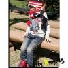 หมวกไหมพรมลายธงชาติ สีแดง-ดำ-ขาว มีรูปดาวน่ารักสไตล์เกาหลี