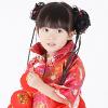 วิกมวยผมเด็กมีเปีย ประดับดอกกุหลาบสีชมพู