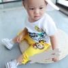 """ชุดแฟชั่นเด็ก 2 ชิ้น เสื้อสีขาวพิมพ์ """" bros power """"  น่ารัก ผ้าเนื้อนุ่มใส่สบาย(เด็ก 6 เดือน-3ขวบ ค่ะ)"""