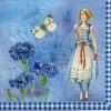 แนวภาพลายการ์ตูน เด็กสาว กับ ดอกไม้ และ ผีเสื้อ เป็นภาพโทนสีฟ้า เป็นภาพ 4 บล๊อค กระดาษแนพกิ้นสำหรับทำงาน เดคูพาจ Decoupage Paper Napkins ขนาด 33X33cm