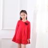 ชุดเดรสแฟชั่นเด็กนำเข้า สีแดง มีตกแต่งที่อก ระบายที่ชายกระโปรง น่ารักสไตล์เกาหลี