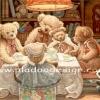 กระดาษสาพิมพ์ลาย rice paper เป็น กระดาษสา สำหรับทำงาน เดคูพาจ Decoupage แนวภาพ ครอบครัวน้องหมีเท็ดดี้ แบร์ teddy bear นั่งทานข้าวกัน ครบครัน พร้อมหน้าพร้อมตาทั้งครอบครัว (pladao design)