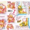 กระดาษ 3D สร้างลายนูน หมีน้อยหนุ่มสาว นอนเล่นบนเตียง 2 ภาพ ขนาด A4