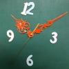 ชุดตัวเครื่องนาฬิกาญื่ปุนเดินเรียบ เข็มลายโมเดิน ขนาดกลาง เข็มสั้น-เข็มยาวสีส้ม เข็มวินาทีสีทอง อุปกรณ์ DIY