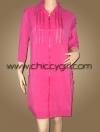 เสื้อคลุมตัวยาวซิบหน้าสีชมพูสด แต่งซิบที่อก มีกระเป๋าข้าง ผ้าเนื้อดีเกรดเอ (L,XL)