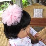 กิ๊บติดผมเด็ก ดอกไม้ฟูฟ่องสีชมพู