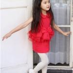 ชุดเดรสแฟชั่นเด็กสีแดง ผ้าเนื้อนุ่ม แบบเก๋ น่ารักสไตล์เกาหลี