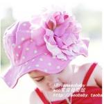 หมวกปีกกว้างสำหรับเด็กสีชมพู