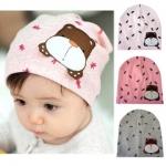 ฺฺฺฺBB039 หมวกสวมเด็ก ประดับรูปหมี น่ารัก มี 3 สี เทา ชมพูเข้ม ชมพูอ่อน
