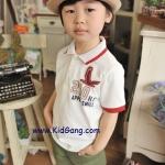 เสื้อผ้าเด็ก มีปกแขนสั้นสีขาว(Red Bird) ไซซส์ 100,120,130,140