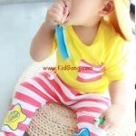 ชุดเด็กลายทางสีเหลือง(เซท) ไซส์ 80,85,90,95 (เสื้อเด็ก+กางเกงเด็ก)