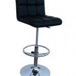 เก้าอี้บาร์ หุ้มหนังสีดำ มีโช๊คปรับระดับขึ้นลง สำหรับใช้ในออฟฟิศ