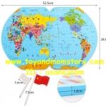 แผนที่โลก และ ธงนานาชาติ (Wooden Educational Toys Puzzle National Flag Three-Dimensional Map of the World)