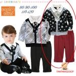 ชุดเสื้อดำลายดาว+กางเกงสีเลือดหมู ไซส์ 80-90-100-110-120