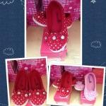 รองเท้าสาวน้อยสีแดง ตกแต่งด้วยลายจุดสีขาวน่ารักสไตล์เกาหลี ญี่ปุ่น