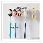 GK069 ที่แขวนแปรงสีฟัน พร้อมนาฬิกาทรายจับเวลา 3 นาที Family Toothbrush Holder