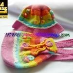 หมวกเด็กฝ้ายถัก+กระเป๋าเป้เด็ก สีรุ้งหวาน Handmade