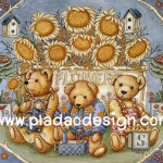 กระดาษอาร์ทพิมพ์ลาย สำหรับทำงาน เดคูพาจ Decoupage แนวภาพ  หมี เท็ดดี้ แบร์ Teddy bear ทุ่งดอกทานตะวัน (pladao design)