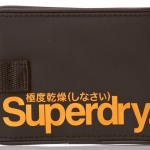 Superdry - Small Tarp Wallet สีดำ/โลโก้ ส้ม Black / Jaffa Orange