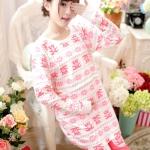 เสื้อให้นม+กางเกงคนท้อง เปิดแบบ C 041 ลายหมีสีชมพู XL