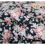 ผ้าคอตตอนไทยสีกรมท่าลายดอกไม้ (ขนาด 50x55ซม)