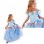 เดรสเจ้าหญิงสีฟ้า ไซส์ 110-120-130-140-150