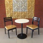 ชุดโต๊ะกลมสีขาว ขาแชมเปญ 2 ที่นั่ง สไตล์ญี่ปุ่น สำหรับร้านกาแฟ (VR-SET2)