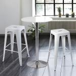 เก้าอี้สตูลเหล็กสูง สีขาว สำหรับแต่งร้านกาแฟ คาเฟ่