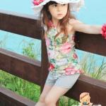 ชุดเสื้อลายดอกไหล่เฉียง+กางเกง ไซส์ 100-110-120-130-140