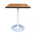 โต๊ะลายบีชขอบดำ ขาแชมเปญสีขาว สำหรับร้านอาหาร ร้านกาแฟ