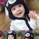 หมวกไหมพรมลายหน้าหมี แต่งหัวใจที่แก้ม สีน้ำเงิน น่ารักสไตล์เกาหลี