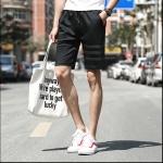 กางเกงขาสั้นแฟชั่้นเกาหลี ลายขีดที่ขา : สีดำ