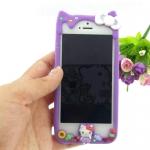 เคสไอโฟน5/5S เคสของข้าง เคสซิลิโคน คิตตี้ สีม่วง น่ารัก