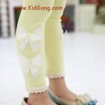 กางเกงเด็ก(เลคกิ้งลายโบว์) สีเหลือง ไซส์ 7,9,11,13