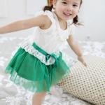 ชุดเดรสแฟชั่นเด็ก เสื้อสีขาว กระโปรงสีเขียว ฟูๆ น่ารักสไตล์เกาหลี ขนาด140