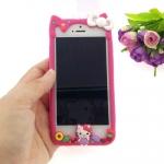 เคสไอโฟน5/5S เคสของข้าง เคสซิลิโคน คิตตี้ สีชมพูเข้ม น่ารักมาก